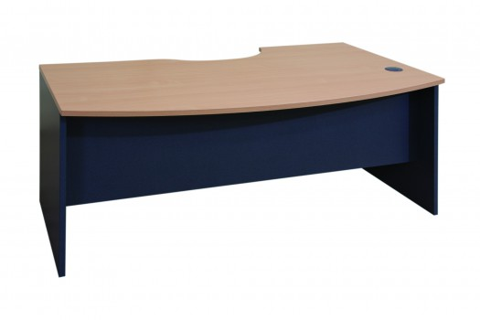 Executive Radial Desk Select Beech Ironstone Visitors Side