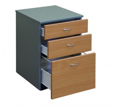 Mobile Ped 2D1F Select Beech Titanium Drawers Open